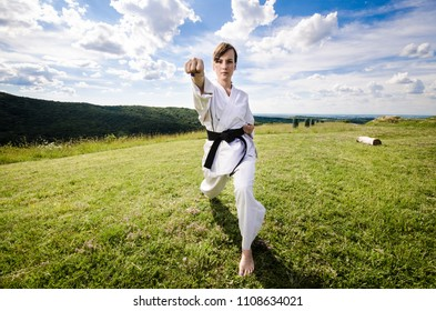Martial arts. Female athlete doing karate exercise in nature, wide angle shot.