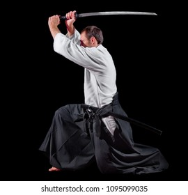 Martial arts fighter isolated on black
