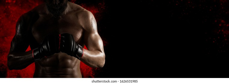 Martial arts fighter (MMA). Sports banner. Horizontal copy space background
