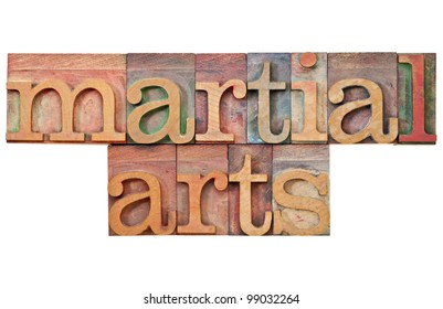 martial arts - isolated text in vintage letterpress wood type