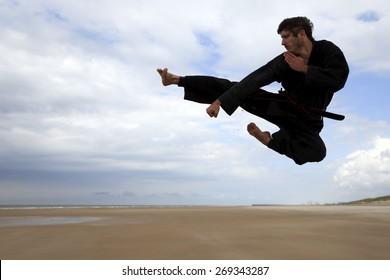 Martial arts jump kick
