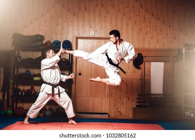 Martial arts masters, karate practice in gym