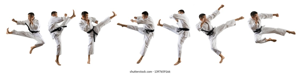 Martial arts masters, karate practice. Isolated on white background