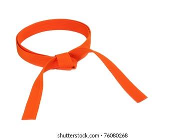 Martial arts orange belt isolated on white