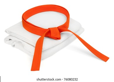 Martial arts orange belt and kimono isolated on white