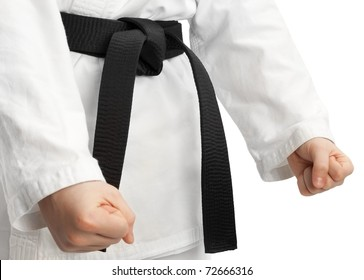 Martial arts stance, isolated on white