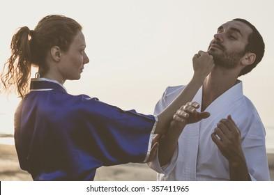 martial arts training between teacher and pupil