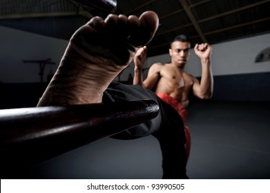 Martial arts training in Wing Chun Kung Fu style on a wooden dummy in the training gym or dojo