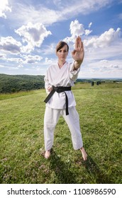 Martial arts. Wide angle shot of female athlete doing karate exercise in nature.