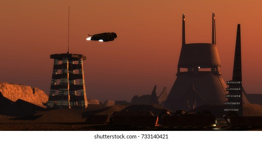 Martian Colonist Complex 3d illustration - Light glows from a colony complex on the planet Mars as a spaceship comes in for a landing from Earth.