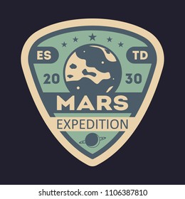 Martian expedition vintage isolated label. Scientific odyssey symbol, modern spacecraft flying, planet colonization illustration.