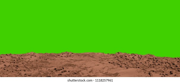 martian land isolated on green background 3d illustration