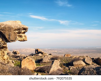 """Martian"" landscape with chalk-stone rocks in the Gobustan National Park, Azerbaijan"
