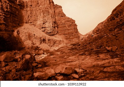 Martian landscape of a lost wadi