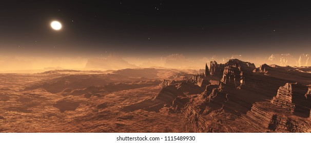 Martian landscape, Mars at sunset, Martian surface, panorama of Mars, 3D rendering