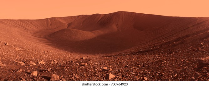 Martian landscape panorama at Hverfjall Crater in North Iceland