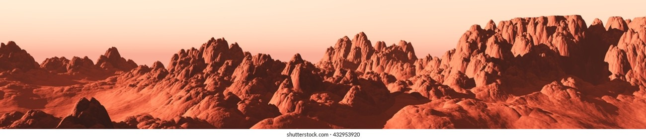 Martian landscape, a panorama of the red planet, 3D rendering