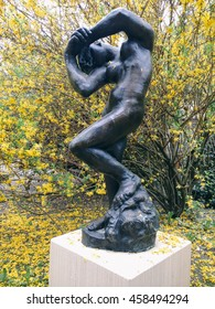 "MARTIGNY, SWITZERLAND - CIRCA APRIL 2016: Auguste Rodin's sculpture ""Meditation"" in the Sculptures Park of Foundation Pierre Gianadda museum in Martigny."