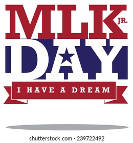 Martin Luther King Day typographic design stock illustration