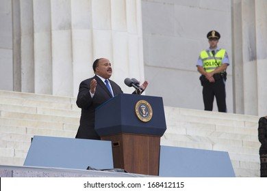 Martin Luther King III addresses the Let Freedom Ring, the 50th anniversary of the March on Washington on the footsteps of the Lincoln Memorial in Washington, DC on August 28, 2013.