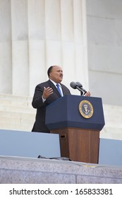 Martin Luther King III, speaks at the 50th anniversary of the March on Washington at the Lincoln Memorial in Washington, DC on August 28, 2013, the Anniversary of Martin Luther King Jr's speech.