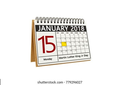Martin Luther King Jr Day January 15, 2018 Calendar white background