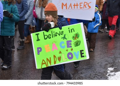 Martin Luther King Jr March. College Street. Fort Collins Colorado. Monday January 15, 2018