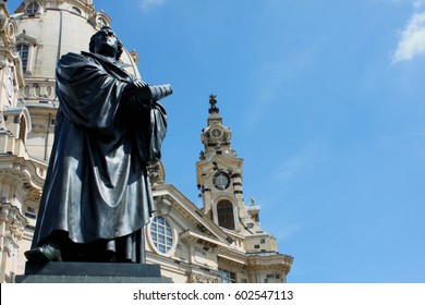 Martin Luther monument in front of Frauenkirche cathedral in Dresden, Germany