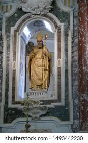 MARTINA FRANCA, ITALY - APR 10, 2019 - Baroque altar of Church of St. Martin,Martina Franca, Puglia, Italy