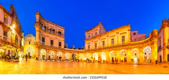 Martina Franca, Puglia, Italy: Night view of the Piazza Plebiscito and the Cathedral st. Martin, Apulia