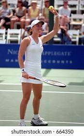 Martina Hingis After Defeating Lilia Osterloh, 2001 Acura Classic