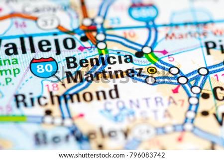 Martinez California Usa On Map Stock Photo Edit Now 796083742