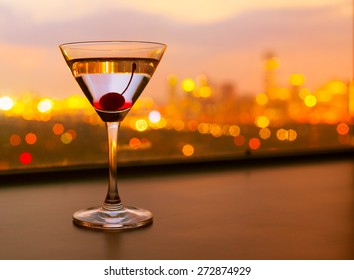 Martini against city view