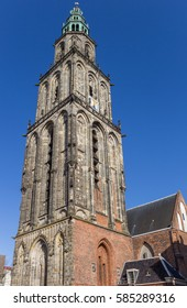 Martini church tower in the historical center of Groningen, Holland