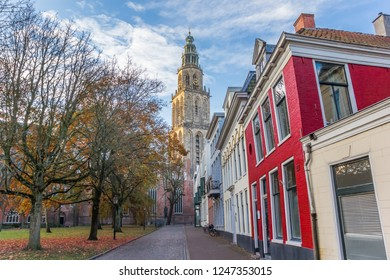 Martini church tower in the late afternoon autumn in Groningen, The Netherlands