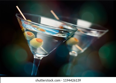 Martini cocktail in glass, close-up view