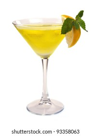 Martini cocktail with lemon and mint