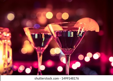 Martini drink closeup, party, night life, celebration concept