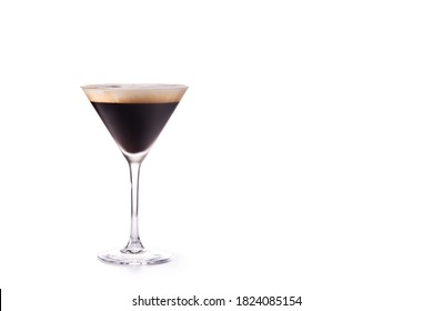 Martini espresso cocktail isolated on white background. Copy space
