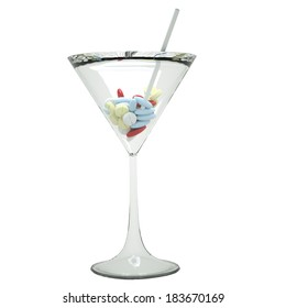 Martini glass filled with drugs and pills