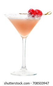 Martini glass of French Horn cocktail. Cold fresh pale pink cocktail with raspberry isolated on white background
