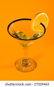 Martini Glass - Isolated on Orange Background