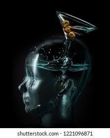 Martini glass pours liquor straight into brain for alcoholism addiction concept