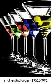Martini on a black  background