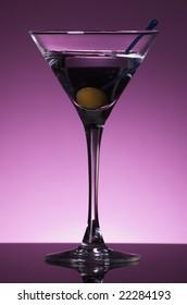 Martini on purple background