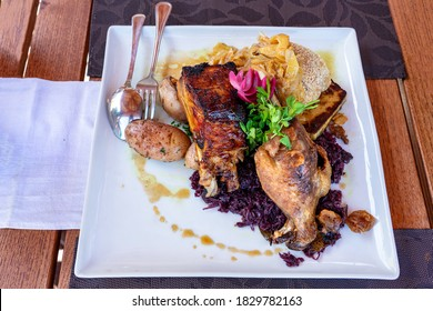 Martini Saint Martin day food meat platter with goose bbq ribs and cabbage