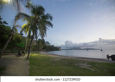 MARTINIQUE ANTILLES: Beach in Fort-de-France Martinique island French Antilles Caribbean sea on March 2018