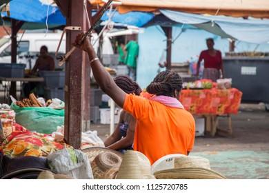 MARTINIQUE ANTILLES: The public market in Fort-de-France on December 4, 2017 Martinique island French Antilles Caribbean sea