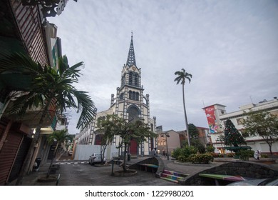 MARTINIQUE ISLAND FRENCH ANTILLES  CARIBBEAN ISLANDS ON DECEMBER 2018: Saint Louis cathedral in Fort de France Martinique island French Antilles Caribbean sea
