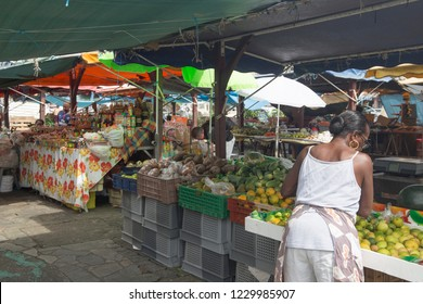 MARTINIQUE ISLAND FRENCH ANTILLES  CARIBBEAN ISLANDS ON DECEMBER 2018: The public market in Fort-de-France on December 4, 2017 Martinique island French Antilles Caribbean sea